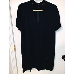 ZARA V NECK BASIC BLACK DRESS NEW WITH TAGS SIZE L